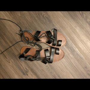 Free People Black Gladiator Sandals Size 10